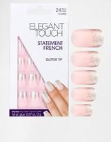 Elegant Touch Statement French Glitter Tip Nail