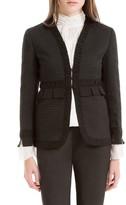 Max Studio Houndstooth Cloqué Shirred Jacket
