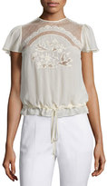 RED Valentino Bird-Embroidered Short-Sleeve Blouse, Ivory