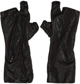 Julius Black Textured Fingerless Zip Gloves