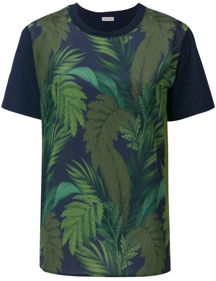 Moncler foliage print contrast sleeve T-shirt