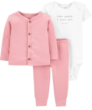 Carter's Baby Girls 3-Pc. Cotton Bodysuit, Cardigan & Pants Set