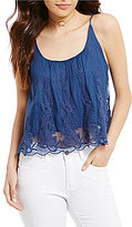 Rossmore by PPLA Embroiderd Sheer-Illusion-Lace-Hem Tank Top