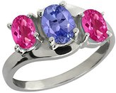 Gem Stone King 1.85 Ct Oval Blue Tanzanite and Pink Mystic Topaz 18k White Gold Ring
