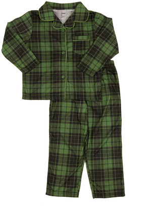 Green & Black Leveret Boys' Sleep Bottoms Plaid Button-Down Pajama Set - Toddler & Boys
