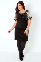 Yours Clothing PRASLIN Black & Gold Shift Dress With Sequin Shoulder Detail