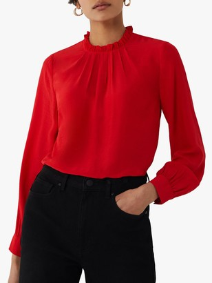 Warehouse Ruffle Neck Top, Bright Red