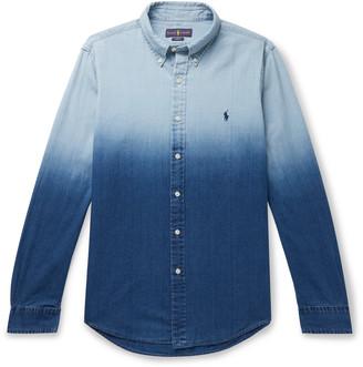 Polo Ralph Lauren Slim-Fit Button-Down Collar Degrade Cotton And Linen-Blend Shirt