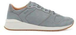 HUGO BOSS Suede Trainers With Embossed Leather Trims - Grey