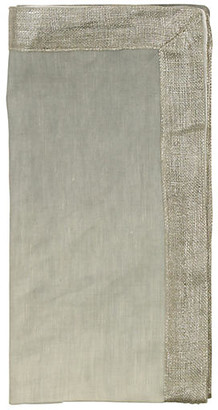 Kim Seybert Set of 4 Dip-Dye Dinner Napkins - Gray/Silver