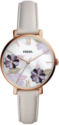 Fossil Women Jacqueline Playful Floral Gray Leather Strap Watch 36mm