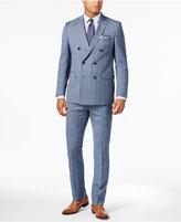 Michael Kors Men's Classic-Fit Light Blue Glen Plaid Double-Breasted Suit