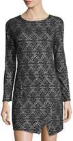 Kensie Patterned Ponte Sheath Dress