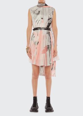Alexander McQueen Printed Sleeveless Scarf-Neck Dress