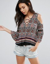 Girls On Film Paisley Print Cold Shoulder Top
