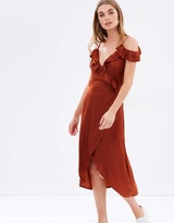 MinkPink Pathways Ruffled Midi Dress