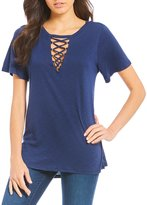 GB Grommet Lace-Up V-Neck Tee