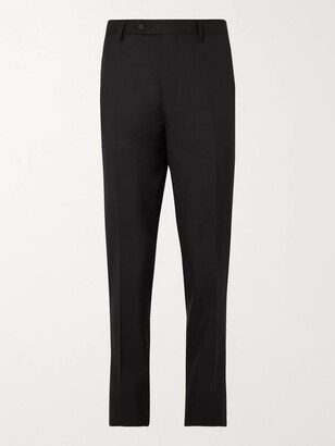 Mr P. Grosgrain-Trimmed Virgin Wool Tuxedo Trousers - Men - Black