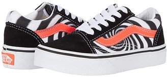Vans Kids Old Skool (Little Kid) ((Swirl) Black/Fiery Coral) Boys Shoes