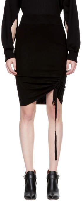 Alexander Wang Black Merino Ruched Pencil Miniskirt