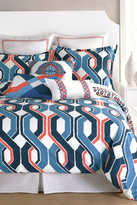 Trina Turk Coastline Ikat Queen Duvet - Red/Blue/White