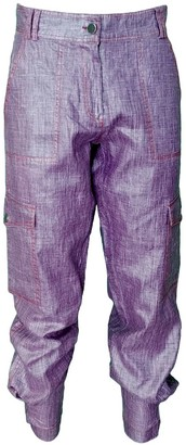 Lalipop Design Stone Washed Shiny Purple Linen Cargo Pants