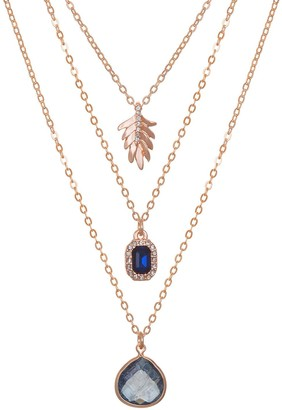 Lauren Conrad Layered Cubic Zirconia & Feather Necklace