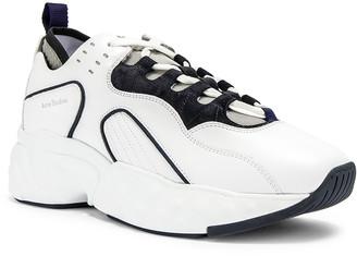 Acne Studios Rockaway Leather Sneakers in Multi White   FWRD