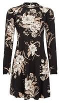 Dorothy Perkins Womens Petite Black Floral Print Jersey Shift Dress, Black