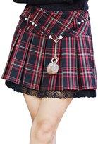 Chouyatou Women's Perfectly Fit Plaid A-Line Pleated School Tartan Skirt Lace Trim