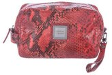 Herve Leger Embossed Leather Cosmetic Bag
