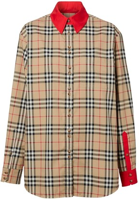 Burberry contrast trims Vintage Check shirt