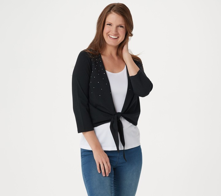 Factory Quacker Tie Front Knit Cardigan with Rhinestone Detail