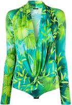 Versace palm tree print body suit