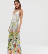 Asos DESIGN Petite cami satin trapeze maxi dress in meadow floral prin
