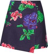 MSGM Floral-print Wool-blend Wrap Mini Skirt - Navy