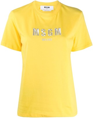 MSGM embroidered logo cotton T-shirt