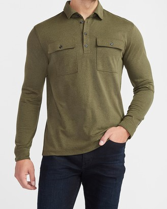 Express Textured Military Pocket Moisture-Wicking Long Sleeve Polo