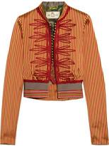 Etro Appliquéd Striped Silk Jacket - Mustard