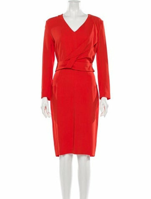 Roland Mouret V-Neck Knee-Length Dress w/ Tags Red
