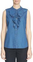 CeCe Ruffle-Front Sleeveless Shirt