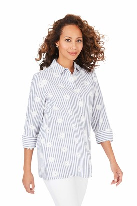 Foxcroft Women's Plus Size Libby Embroidered Stripe Tunic