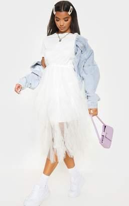 PrettyLittleThing White Tulle Detail T Shirt Dress