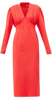 Emilia Wickstead Iliana Gathered Crepe Midi Dress - Red