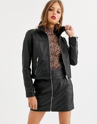 Lab Leather zip front retro jacket