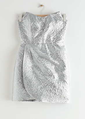 And other stories Draped Strapless Jacquard Mini Dress