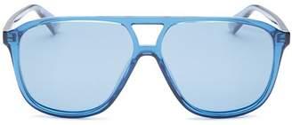 Polaroid Unisex Polarized Brow Bar Aviator Sunglasses, 58mm