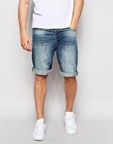 Pull&bear Denim Shorts In Mid Blue