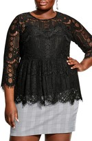 City Chic Lace Peplum Top