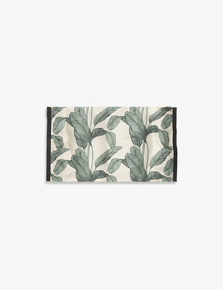 Emily Carter Ladies Cream and Green Palm Leaf-Print Silk Face Covering Mask